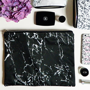 Black Marble Large Wash Bag - make-up & wash bags
