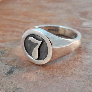 Personalised Number Round Silver Signet Ring - rings