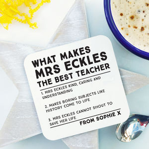 The Best Things About Our Teacher Coaster - tableware
