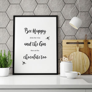 'Happy' Typography Bee Print