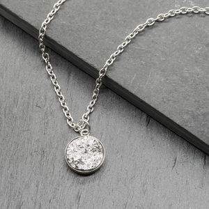 Druzy Silver Plated Sparkle Pendant Necklace