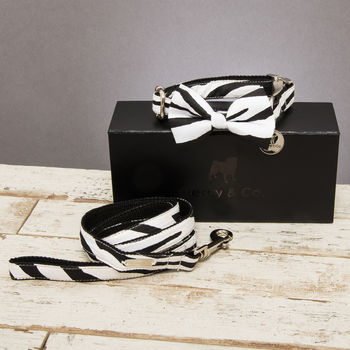 The Portobello Zebra Dog Collar Bow Tie And Lead Set
