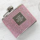 Personalised Pink Diamante Hip Flask With Funnel