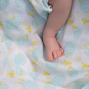 Muslin Swaddle Puddle Duck - blankets, comforters & throws