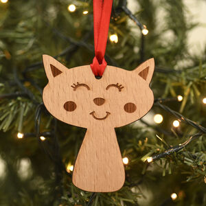 Cat Wooden Christmas Tree Pet Decoration