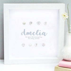 Personalised Christening Name Silver Crosses Art - mixed media & collage