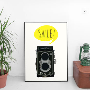 'Smile' Retro Camera Art Print
