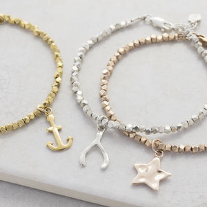 Personalised Nugget Bracelet With Charm