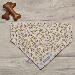 Floral Lilac/Purple Ditsy Print Dog Bandana - dogs