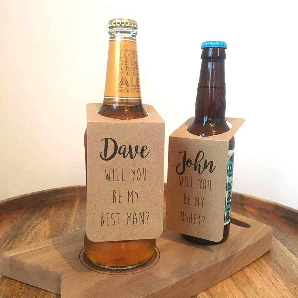 Personalised Will You Be My Best Man Usher Bottle Tags