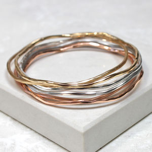 Mixed Metal Stacking Bangles - sale