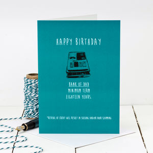 Birthday Card For Dad 'Bank Of Dad'