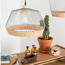 Birdy Wire Pendant Light With Braided Rattan Border