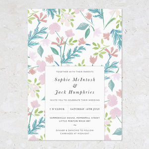 Summer Wedding Invitations, Patterned