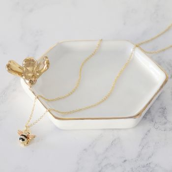 Bee Necklace And Trinket Dish Set