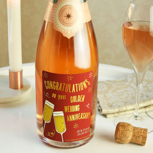 Golden Wedding Anniversary Champagne Gift - 50th anniversary: gold