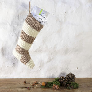 Christmas Stocking In Chunky Striped Crochet