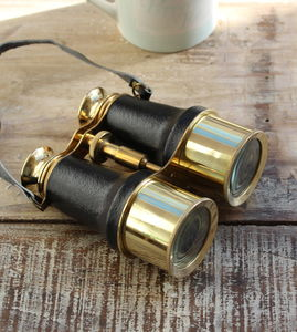Brass Leather Binoculars Antique Style - gifts for him