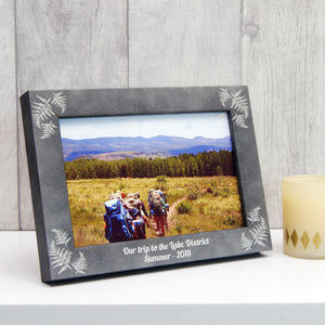 Personalised Stone Effect Fern Photo Frame