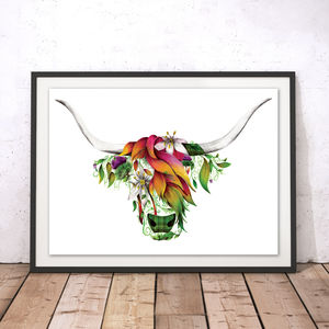 Ivy The Highland Cow Watercolour Fine Art Print