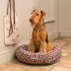 Union Jack Linen Donut Dog Beds - dogs