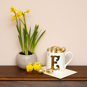 Easter Gold Letter Mug With Milk Chocolate Eggs
