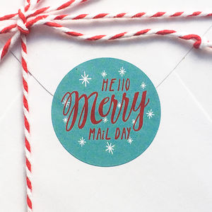 'Hello Merry Mail Day' Christmas Mail Stickers - ribbon & wrap