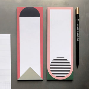 Magnetic Notepad With Magnetic Pencil : Geo Red