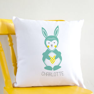 Personalised Scandi Folk Bunny Cushion