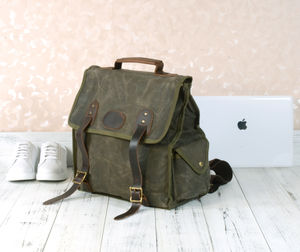 Personalised Waxed Canvas Backpack Waterproof