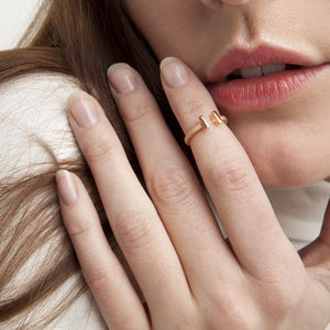 Rose Gold Dual Bar Midi Ring - contemporary jewellery