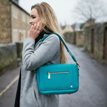 Teal Leather Ladies Crossbody Handbag with Interior Organisation