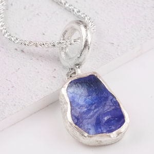 Rare Tanzanite Rough Gemstone Silver Pendant