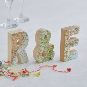 Map Location Set Of Letters Wedding Anniversary Gift - 5th anniversary: wood
