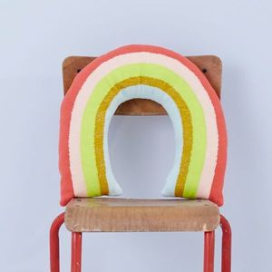 Knitted Rainbow Nursery Cushion - children's room