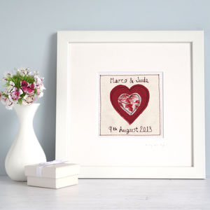 Personalised Love Heart Picture - textile art