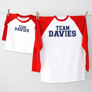 'Team Surname' Father And Child Long Sleeve T Shirt Set - clothing