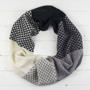 Triangle Knitted Circle Scarf In Monochrome - womens