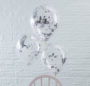 Pack Of Five Silver Confetti Filled Party Balloons