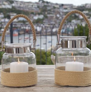 Glass Jar Candle Lantern With Rope Handle - home accessories