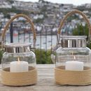 Glass Jar Candle Lantern With Rope Handle