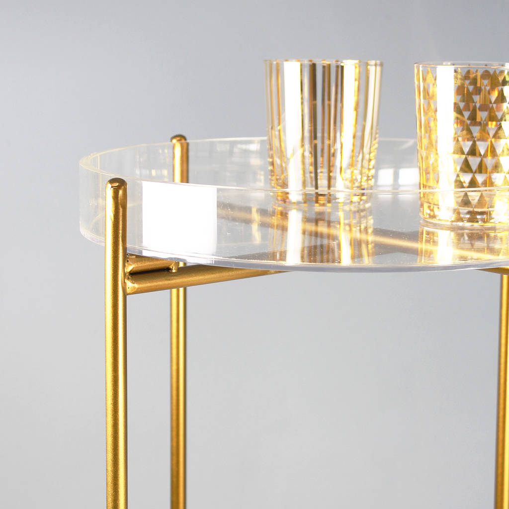 bedside table modular gold rose side