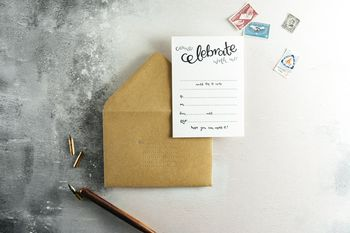 Come Celebrate With Us Letterpress Invite Set Of 10