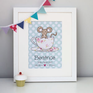 Mouse Personalised Children's Print - pictures & prints for children