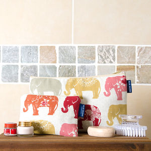 Elephant Toiletry Bag And Cosmetic Purse Set