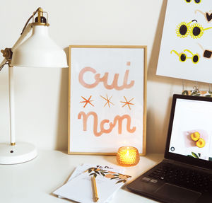 Oui Non A3 French Print - gifts for her