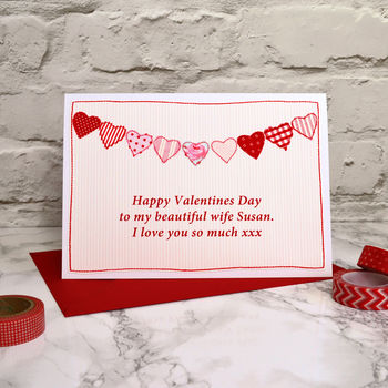 'Bunting' Personalised Valentines Card