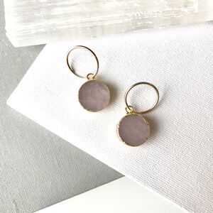 Mini Circle Rose Quartz Hoop Earrings