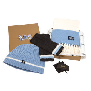 Luxury Cashmere Football Sets In Sky Blue And White