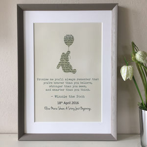 Personalised Winnie The Pooh Typography Print - children's pictures & prints